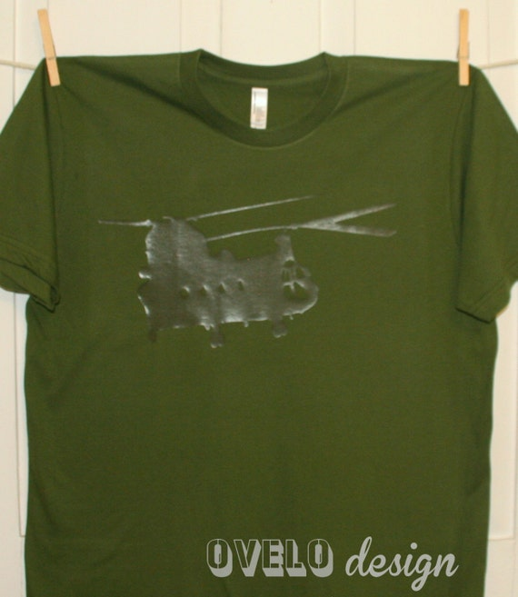 Chinook Helicopter Camouflaged T-shirt OD Green on Green