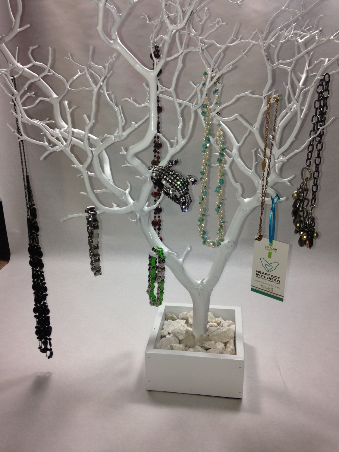 30 white painted tree jewelry holder jewelry for Tree branch jewelry holder
