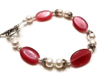 Pink Cat Eye Bracelet, White Swarovski Pearls, Pink Bracelet, White Bracelet, White Pearl Bracelet, Pink Beaded Bracelet, Pink Cat Eye Beads