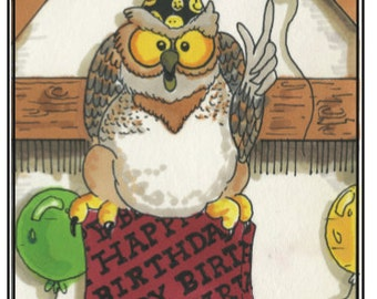 Humorous Colorful Birthday Card with Owl