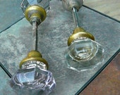 RESERVED for SHARON COURY 2 Vintage Glass Door Knobs/  Faceted Glass Door Knobs/French Cottage/1920s