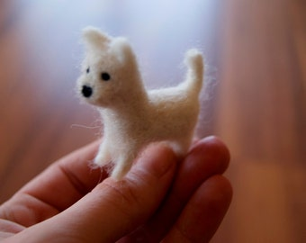 Tiny dog, felted dog, soft sculpture, miniature pet, dog miniature, puppy, felted puppy, natural toys, wool toys