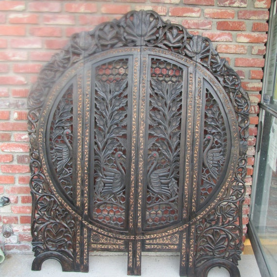 Beautiful asian carved wood panel screen room divider with