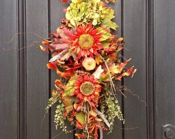 READY TO SHIP Fall Wreath Thanksgiving Autumn Teardrop Vertical Door Swag Decor-Sunflowers-Feathers-Acorns-green hydrangea