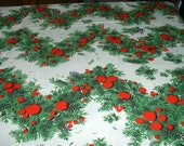 "Vintage Tablecloth,  Handmade, Cotton, Christmas, Large 90"" x 56"""