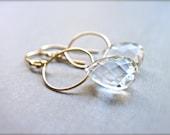 April Birthstone Earrings, Crystal Quartz Gold Hoop Earrings, Wire Wrapped Gemstone Dangle Earrings, Rock Crystal Quartz Earrings