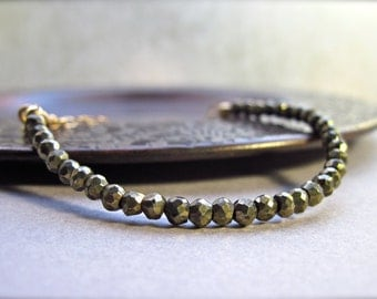 Pyrite Bracelet, Gold Filled Bracelet, Gold Brown Neutral Gemstone Bracelet Single Strand Layering Bracelet