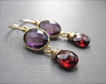 Gemstone Earrings with Garnet and Purple Quartz, Gold Earrings, Dangle Gemstone Earrings, Wire Wrapped Red and Purple Gemstone Jewelry