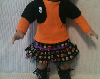 18 inch doll (modeled by American Girl)  Halloween 3 piece Harajuku skirt set with hair bow