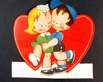 1950s Vintage Bobbysox dancers Valentine, unused