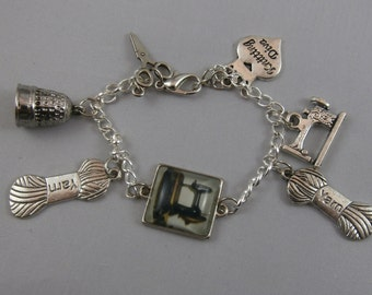 Silver and Resin Charm Sewing and Knitting Bracelet