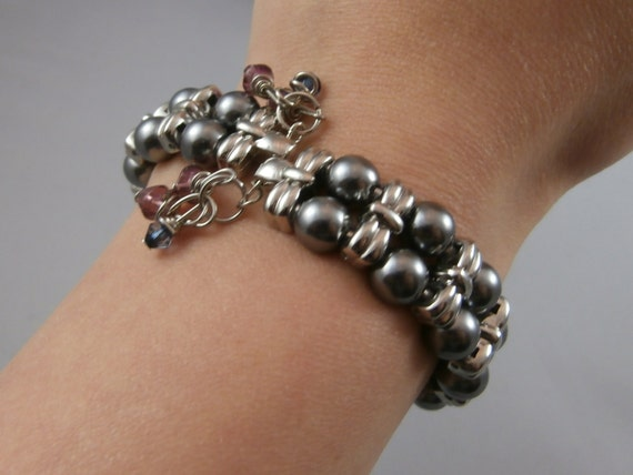Double Strand Black Pearl and Silver Dangle Bracelet