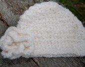 Newborn Crochet Girls Flower Hat, Cream Beanie, Snow White, Floral Pin