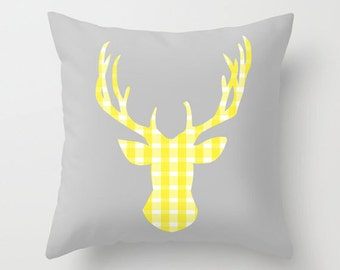 Throw Pillow Cover Deer Head - Grey and Yellow Gingham - 16x16, 18x18, 20x20 - Bedroom Nursery Original Design Home Décor by Adidit