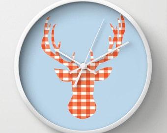 Deer Head Wall clock - Deer Head Gingham Wall Clock - Choose Your Colors - Baby Blue Orange - Original Design - Home decor by Adidit