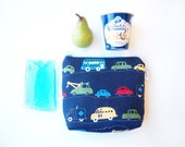 Insulated Snack Sleeve / Lunch Bag / Baby Bottle Case with Waterproof Lining - Working Cars (Navy Blue)