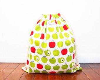 SALE: 30% OFF - Large-ish Drawstring Bag / Library Bag / Laundry Bag - Green Apple