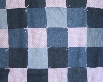 "Handmade Baby Blanket Quilt Denim and Purple Polka Dot Minky 31 1/2"" x 53 1/2"""