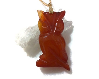 Owl Necklace, Bird Necklace, Orange Necklace, Agate Necklace, Natural Gemstone Necklace, Owl Pendant, Gold Necklace, Birthday Gift for Her