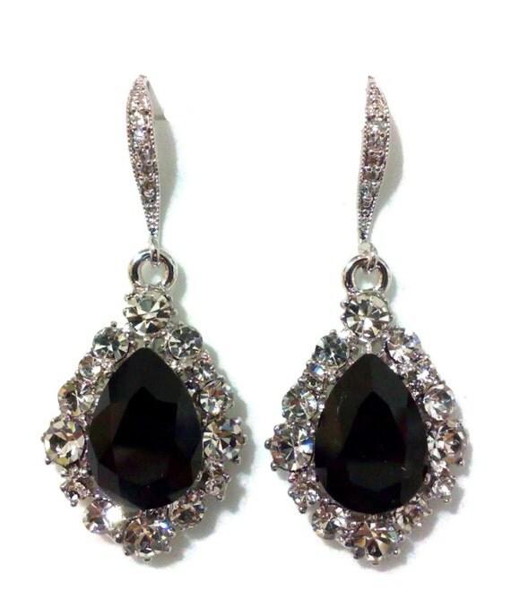 jet black bridal earrings teardrop swarovski by