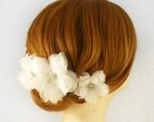 Swarovski Crystal, Bridal Hair Piece, Ivory Wedding Hairpiece, Bridal Hairpiece Bridal Flower Hair Piece, Pure Silk Wedding Hair Accessory