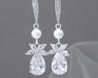 Crystal Bridal earrings Pearl Wedding jewelry Swarovski Pearl Wedding earrings Bridal jewelry, Claire Drop Earrings