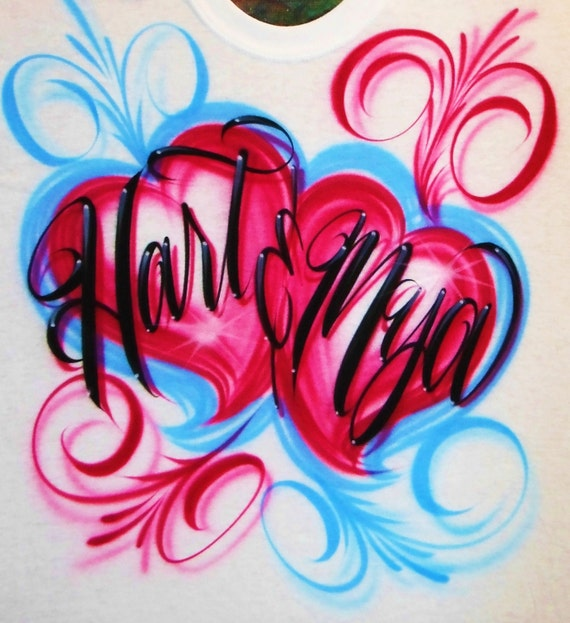 Airbrush T Shirt Couples Hearts With Swirls And Two Names, Airbrush Hearts Shirt, Airbrush Couples Shirt, Airbrush Shirt With Two Names
