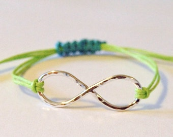 Sterling silver infinity bracelet with colored cotton cord, hammered silver infinity bracelet, casual infinity bracelet, adjustable infinity