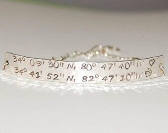 Wide GPS Bracelet, sterling silver GPS bracelet, silver coordinates bracelet, Wide coordinates bracelet, custom GPS bracelet