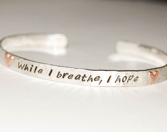 Personalized silver cuff with copper hearts, engraved quote bracelet, cuff bracelet, message cuff, customized bracelet, silver quote cuff