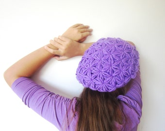 Crochet Purple Puff Hat. Winter Woman Beret. Handmade Women Accessory. Lavender Violet Wool Hat. Gift for Her designed by dodofit on Etsy
