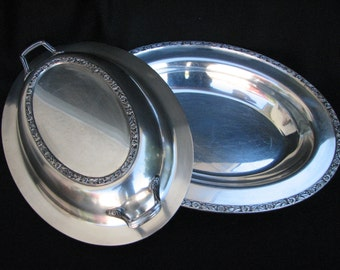 Antique Silver Covered Oval Vegetable Server Casserole Dish Rogers & Son 1812 Primrose