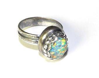 Sterling Silver Nugget Ring with Your Choice of Stones R162
