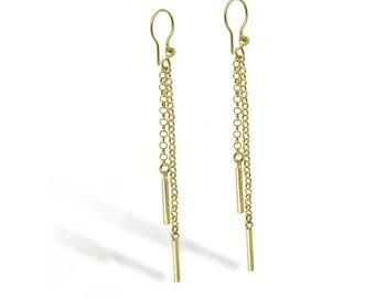 BAR CHAIN EARRINGS Gold 18k on Sterling Silver, Tassel Stick Earrings. Long Dangle Jewelry