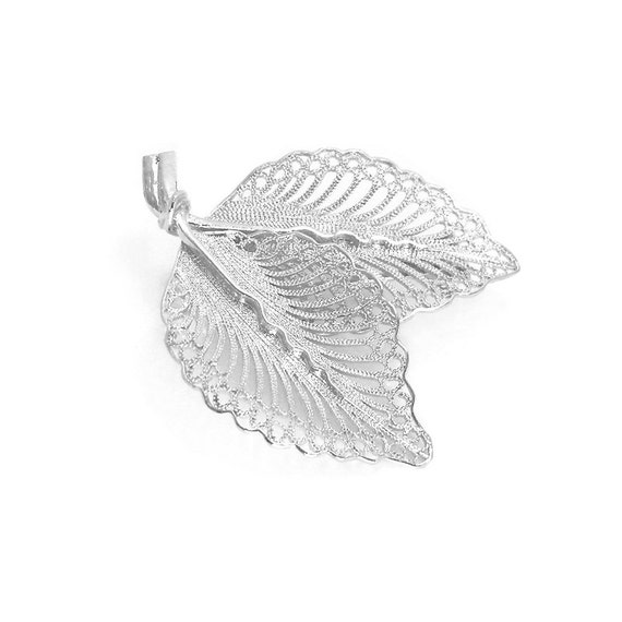 Filigree Leaves Pin Brooch Sterling Silver 925 , Vintage Style , Woodland jewelry