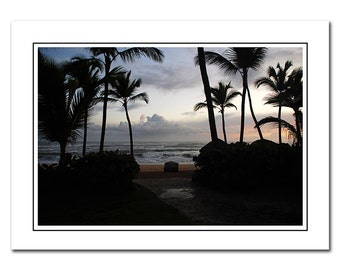 Tropical Island Note Card with Envelope, Photo Greeting Card, Palm Trees Card, Thank You Card, notecard