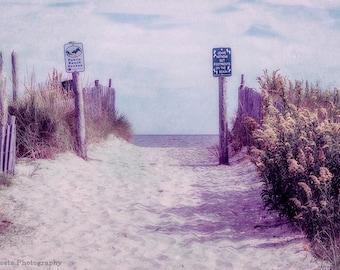 Dreamy Beach Photography, fine art print, Beach Path to the Ocean,Soft colors wall art