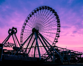 Ferris Wheel Photography, Carnival Photography, Boardwalk Amusements Rides, Wildwood during Sunrise, Purple and Pink