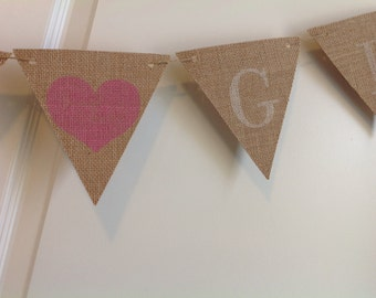 Boy or Girl Banner Gender Reveal Burlap pennant bunting baby shower garland pink blue white with hearts Photo prop