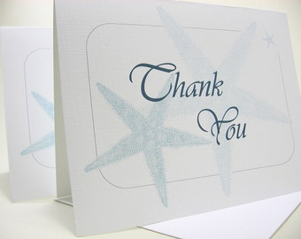 Thank You Note Card Starfish Blank Note Card Blue Beach Wedding Thanks Custom Personalized Card