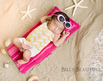 Baby Chevron Crochet Pattern - Newborn Photo Prop Romper Pattern - Newborn Romper Crochet Pattern - Crochet Romper Pattern
