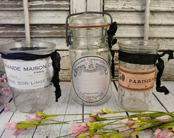 3 Shabby chic clear jars with labels vintage - LOT paris french romantic set of paris french old