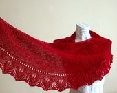 Hand knitted burgundy mohair baktus shawl, Woman winter accessory,lacy leaf edge semi circular shawl - PureCraft