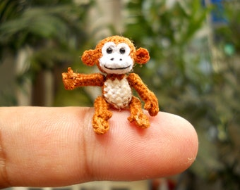Micro Miniature Monkey - Thread Art Crochet Tiny Stuffed Animals -  Made to Order