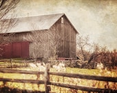 Barn Landscape Photography, Autumn Colors, Rustic Home Decor, Country Landscape, Rustic Barn Picture, Pennsylvania Barn, Red Gold Brown.