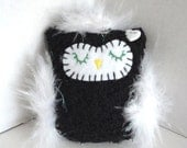 Plush Owl Ornament, Owl Decoration. Black and White Party