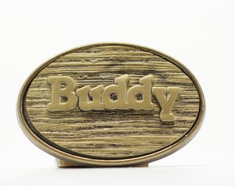 SALE Buddy Name Belt Buckle by Oden - 1970s Vintage Name Belt Buckle - Wood Grain Rustic BB13