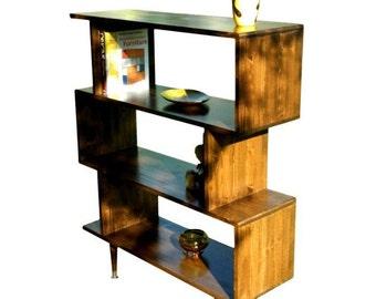 Mid Century Inspired Zigzag Bookshelf - MADE TO ORDER