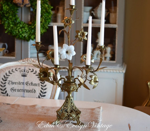 Antique French Church Altar Candelabra Five Candle Porcelain