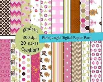 Pink Jungle Digital Paper Pack 300 dpi 8.5x11 20 papers For Personal or Commercial Use